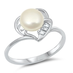 Silver CZ Ring with Pearl - $5.5