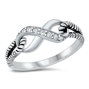 Silver CZ Ring - Infinity Knot - $4.61