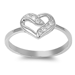 Silver CZ Ring - Heart - $4.36
