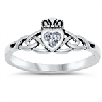 Silver CZ Ring - Celtic Claddagh ring - $3.62
