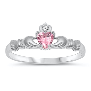 Silver CZ Ring  - Claddagh Ring - $3.96