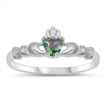 Silver CZ Ring - Claddagh - $2.99