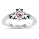 Silver CZ Ring - Claddagh Ring - $3.29