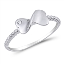 Silver CZ Ring - Infinity Heart - $3.90