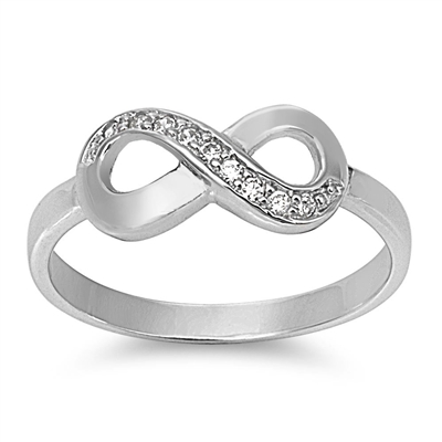 Silver CZ Ring - Infinity Sign - $4.58