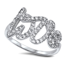Silver CZ Ring - Love - $7.39