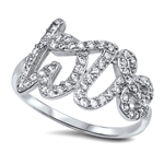 Silver CZ Ring - Love - $8.13
