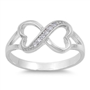 Silver CZ Ring - Infinity Heart - $5.78