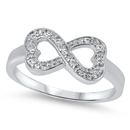 Silver Infinity Heart Ring - $8.12