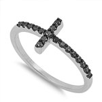 Silver CZ Ring - Sideways Cross - $4.94