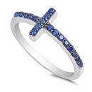 Silver CZ Ring - Sideways Cross - $4.39