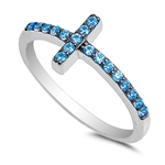 Silver CZ Ring - Sideways Cross - $4.67
