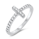 Silver CZ Ring - Sideways Cross - $4.00