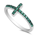 Silver CZ Ring - Sideways Cross - $4.49