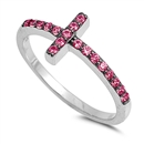 Silver CZ Ring - Sideways Cross - $4.25