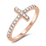 Silver CZ Ring - Sideways Cross - $5.00