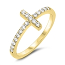 Silver CZ Ring - Sideways Cross - $4.09