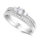 Silver Wedding Ring Sets - $9.34