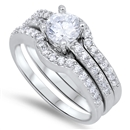 Silver Wedding Ring Sets W/ CZ - $13.87