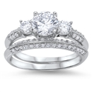 Silver Wedding Ring Sets - $9.78