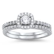 Silver Wedding Ring Sets - $8.97