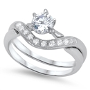 Silver Wedding Ring Sets - $8.48