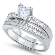 Silver Wedding Ring Sets - $13.99