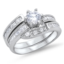 Silver Wedding Ring Sets - $13.96