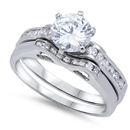 Silver Wedding Ring Sets - $18.7