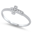 Silver CZ Ring - Sideways Cross - $3.59