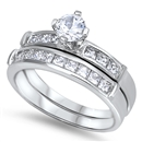 Silver Wedding Ring Sets - $13.49