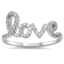 Silver CZ Love Ring - $5.24