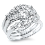 Silver CZ Ring - Wedding Set - $16.59