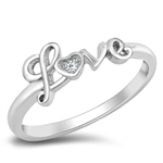Silver CZ Love Ring - $3.98