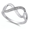 Silver CZ Ring - Infinity Heart - $4.79