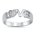 Silver CZ Ring - Love - $6.27