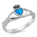 Silver Claddagh Ring - Blue Lab Opal - $4.89