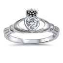 Silver Claddagh Ring - Clear CZ - $4.67