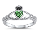 Silver Claddagh Ring - Emerald CZ - $4.95