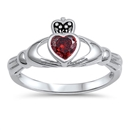 Silver Claddagh Ring - Garnet CZ - $4.67