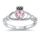 Silver Claddagh Ring - Pink CZ - $4.67