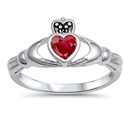Silver Claddagh Ring - Ruby CZ - $4.95