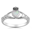 Silver Claddagh Ring - White Lab Opal - $4.88