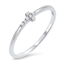 Silver CZ Ring - Sideways Cross - $3.29