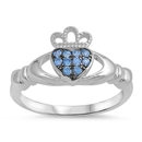 Silver Claddagh Ring - Aquamarine CZ - $4.89
