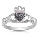 Silver Claddagh Ring - Black CZ - $4.89