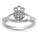 Silver Claddagh Ring - Clear CZ - $4.89