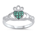 Silver Claddagh Ring - Emerald CZ - $4.89