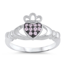 Silver Claddagh Ring - Pink CZ - $4.89