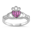Silver Claddagh Ring - Ruby - $4.89
